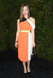 Liz Goldwyn was modern and sophisticated in an asymmetrical multicolored dress by Roksanda Ilincic during the Chanel and Charles Finch pre-Oscar party.