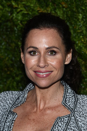 Minnie Driver made an appearance at the Tribeca Film Festival Chanel dinner wearing her hair in a youthful ponytail.