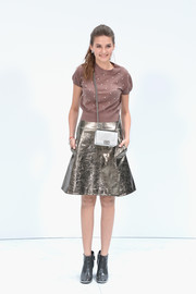 Anna Tabakova went for a rocker-glam finish with a silver leather skirt.