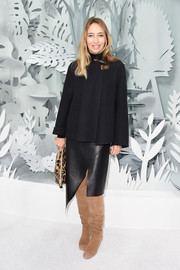 Alexandra Golovanoff was edgy-chic in her asymmetrical black leather skirt.