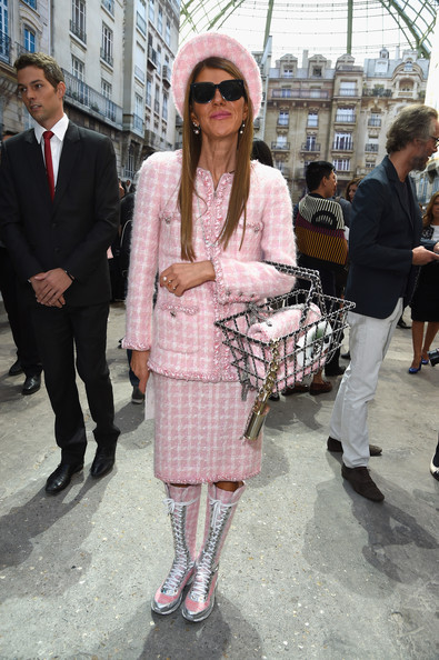 Anna dello Russo took the matchy-matchy look to the max by accessorizing with a Chanel shopping basket bag and a matching hat.