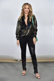 Rita Ora kept it relaxed yet chic in a metallic tunic at the Chanel fashion snow.
