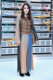 Frances Bean Cobain went boho in a Chanel maxi dress with a sequined bodice and a multicolored skirt for the label's Spring 2017 show.