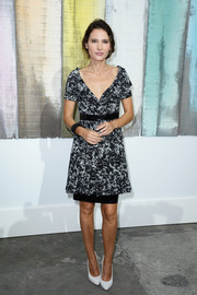 Virginie Ledoyen went for classic sophistication with this black-and-white print dress during the Chanel fashion show.