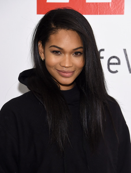 Chanel Iman Long Straight Cut [hair,face,hairstyle,black hair,eyebrow,long hair,lip,beauty,forehead,layered hair,summer 2019,chanel iman,collection,new york city,studio 525,chanel iman attends uniqlo press,uniqlo,chanel iman celebrate uniqlo spring,event]