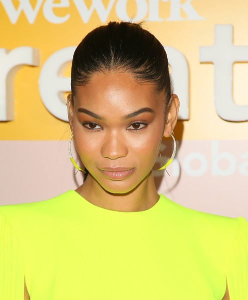 Chanel Iman Ponytail [hair,face,hairstyle,eyebrow,lip,skin,yellow,beauty,forehead,chin,microsoft theater,los angeles,california,wework creator awards global finals - arrivals,wework presents second annual creator global finals,chanel iman]