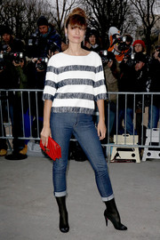 Caroline De Maigret looked funky in her rolled-up skinny jeans.