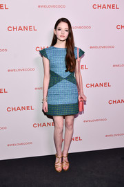 Mackenzie Foy made a lively choice with this color-block tweed mini dress by Chanel for the brand's Beauty House party.