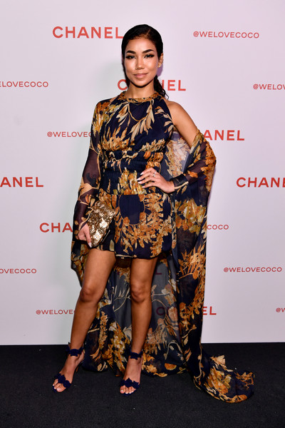 More Pics of Jhene Aiko Strappy Sandals (1 of 3) - Heels Lookbook - StyleBistro [fashion model,clothing,fashion,fashion design,hairstyle,footwear,dress,leg,shoulder,red carpet,jhene aiko,@welovecoco,chanel beauty house,california,los angeles,chanel party]