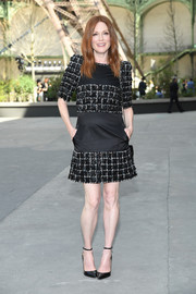 Julianne Moore looked effortlessly chic in an embroidered LBD by Chanel during the label's Haute Couture show.
