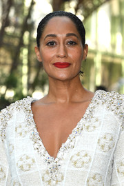 Tracee Ellis Ross wore her hair in a casual bun at the Chanel Haute Couture show.