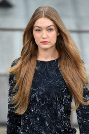 Gigi Hadid looked like a walking shampoo ad with her waist-length, center-parted 'do at the Chanel Spring 2020 show.