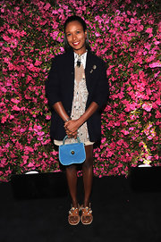 Shala Monroque chose a black blazer to pair over the nude embellished frock, which she wore at the Chanel Tribeca Film Festival Artists Dinner.