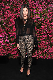 A sheer black blouse topped off Juila Restoin-Roitfeld's punk-inspired look at the Chanel Tribeca Film Festival Artists Dinner.