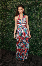 Thandie Newton looked like a walking piece of pop art in a car-print halter gown by Chanel at the pre-BAFTA party.