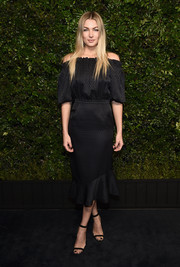 Jessica Hart paired her dress with simple black ankle-strap heels.