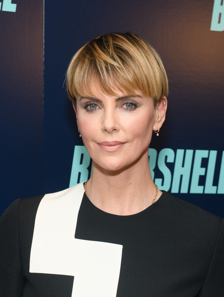 Charlize Theron Bowl Cut [bombshell,hair,face,hairstyle,blond,eyebrow,chin,beauty,bangs,forehead,pixie cut,charlize theron,new york,screening,new york screening]