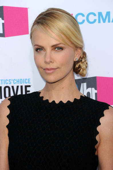 Charlize Theron Braided Bun