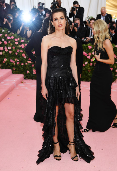 Charlotte Casiraghi Strappy Sandals [photograph,dress,fashion model,clothing,shoulder,fashion,strapless dress,gown,haute couture,carpet,premiere,dress,charlotte casiraghi,lookbook,notes,fashion,fashion model,camp,metropolitan museum of art,met gala celebrating camp,charlotte casiraghi,2019 met gala,the metropolitan museum of art,camp: notes on fashion,anglomania: tradition and transgression in british fashion,2019,photograph,fashion]