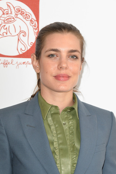 Charlotte Casiraghi Ponytail [chin,forehead,suit,white-collar worker,businessperson,official,charlotte casiraghi,paris eiffel jumping,paris,france,gucci,champ-de-mars]
