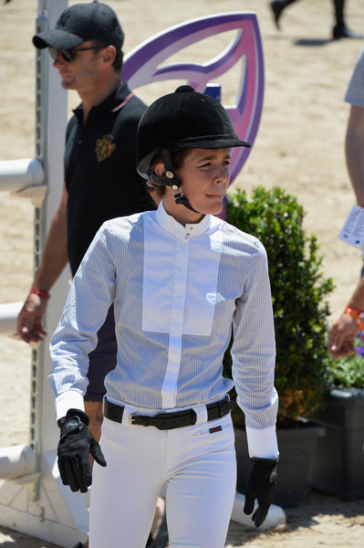 Charlotte Casiraghi Button Down Shirt [headgear,photography,neck,fashion accessory,street fashion,uniform,gesture,style,charlotte casiraghi,monte-carlo jumping,monaco,monaco day one,longines,global champions tour,competition]
