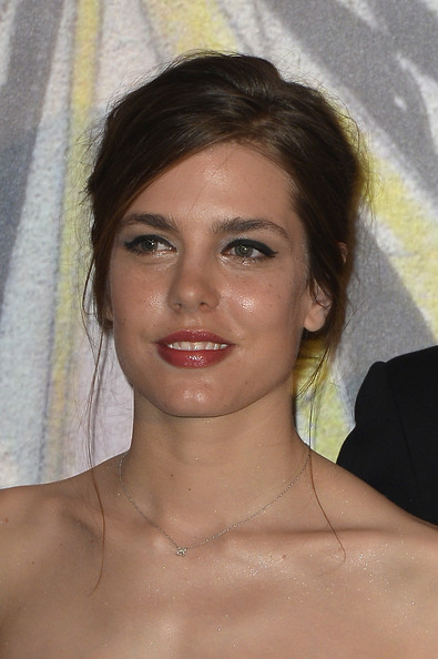 Charlotte Casiraghi Messy Updo [hair,face,eyebrow,hairstyle,chin,forehead,lip,beauty,nose,skin,charlotte casiraghi,aid,rose ball,aid,monaco,sporting monte-carlo,princess grace foundation,rose ball 2014]