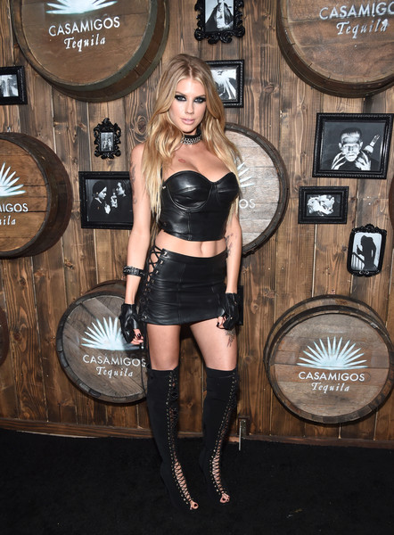 Charlotte McKinney Lace Up Boots [lingerie,shoulder,leg,joint,thigh,fashion model,latex clothing,fashion,fetish model,flooring,charlotte mckinney,model,residence,beverly hills,california,casamigos tequila halloween party,casamigos halloween party]