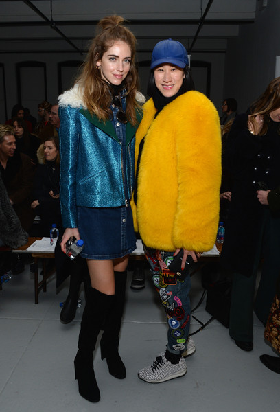Chiara Ferragni Over the Knee Boots [fashion,fashion show,clothing,yellow,footwear,street fashion,fashion design,event,runway,fashion model,editor-in-chief,chiara ferragni,eva chen,rodarte - front row,center 548,new york city,lucky magazine,l,mercedes-benz fashion week,fashion show]