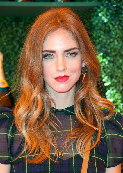 Chiara Ferragni Long Wavy Cut [hair,face,hair coloring,hairstyle,lip,blond,red hair,beauty,eyebrow,orange,arrivals,chiara ferragni,los angeles,pacific palisades,california,will rogers state historic park,veuve clicquot polo classic]