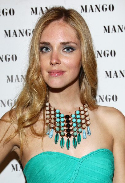 Chiara Ferragni Beaded Statement Necklace [hair,face,hairstyle,blond,eyebrow,long hair,lip,beauty,jewellery,chin,chiara ferragni,coin,lets party,milan,italy]