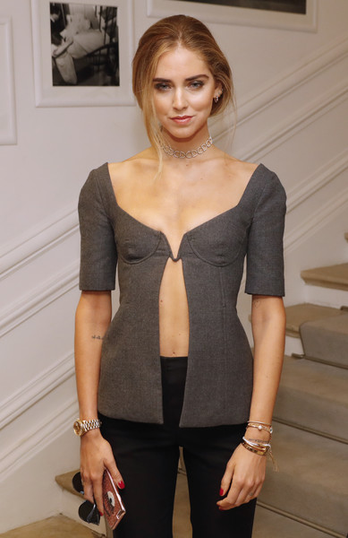 Chiara Ferragni Corset Top [clothing,shoulder,fashion,waist,dress,arm,neck,joint,outerwear,photo shoot,christian dior,chiara ferragni,patrick kovarik,haute couture fall,front row,italian,paris,afp,paris fashion week,collection fashion show]