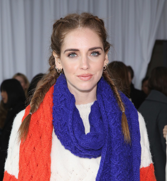 Chiara Ferragni French Braid [hair,scarf,lip,hairstyle,fashion,neck,long hair,fashion accessory,electric blue,fur,chiara ferragni,delpozo,front row,new york city,pier 59 studios,new york fashion week]
