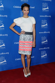 Zoe Saldana was perfectly feminine at the Beat the Odds Awards in a textured skirt complete with soft ruched chiffon peep-toe pumps.