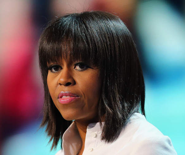More Pics of Michelle Obama Medium Straight Cut with Bangs (7 of 15) - Shoulder Length Hairstyles Lookbook - StyleBistro