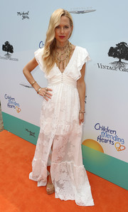 Rachel Zoe was a boho princess in this cute white maxi dress from her own label at the Empathy Rocks event.