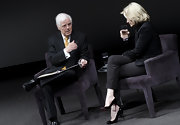 Black patent leather Louboutin pumps with sky-high stiletto heels added an ultra-feminine touch to Diane Sawyer's business-like look.
