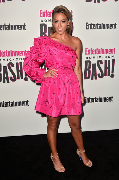 Chloe Bennet One Shoulder Dress [clothing,dress,shoulder,pink,cocktail dress,premiere,fashion,joint,event,magenta,entertainment weekly comic-con celebration - arrivals,chloe bennet,float,san diego,hard rock hotel,california,entertainment weekly,hbo,comic-con bash]