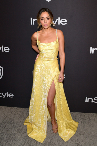 Chloe Bennet Strappy Sandals [fashion model,dress,clothing,shoulder,yellow,gown,hairstyle,a-line,fashion,carpet,chloe bennet,beverly hills,california,the beverly hilton hotel,instyle,red carpet,warner bros. 76th annual golden globe awards,warner bros. 76th annual golden globe awards post-party]