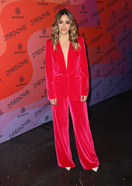 Chloe Bennet Pantsuit [clothing,red,pantsuit,pink,suit,pajamas,outerwear,formal wear,flooring,red carpet,arrivals,chloe bennet,reality,los angeles,29rooms,california,the reef,refinery29]