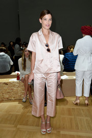 Hanneli Mustaparta looked almost ready for bed in her pink silk capri pants and matching top during the Chloe fashion show.