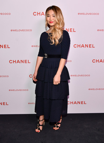 Chloe Kim Strappy Sandals [clothing,dress,little black dress,fashion,premiere,footwear,shoulder,cocktail dress,waist,event,chloe kim,@welovecoco,chanel beauty house,california,los angeles,chanel party]