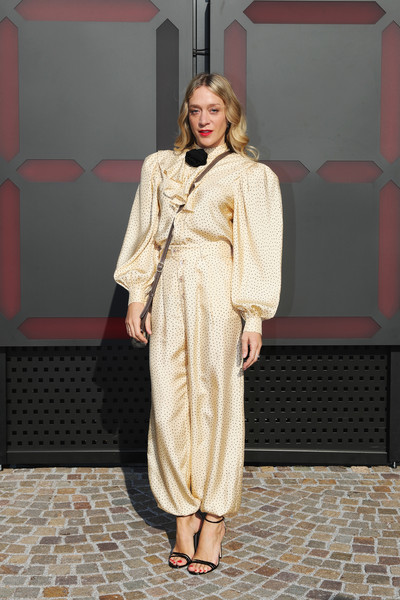 Chloe Sevigny Strappy Sandals [clothing,fashion,dress,fashion model,lady,fashion design,outerwear,blond,street fashion,fur,chloe sevigny,milan,italy,gucci,milan fashion week,show,milan fashion week fall]