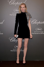 Eva Herzigova flashed plenty of leg in a Saint Laurent velvet LBD with crystal detailing at the Chopard Space Party.