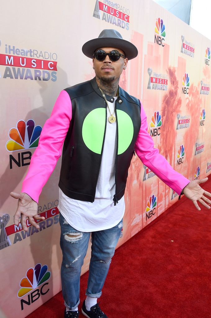 eecaf43c5672b Chris Brown · Who said leather jackets can't be neon pink?