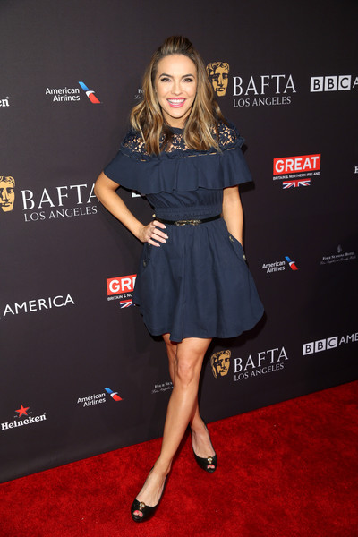 Chrishell Stause Cocktail Dress [clothing,dress,red carpet,carpet,premiere,cocktail dress,little black dress,fashion,footwear,flooring,arrivals,chrishell stause,los angeles,four seasons hotel,california,beverly hills,bafta,tea party]