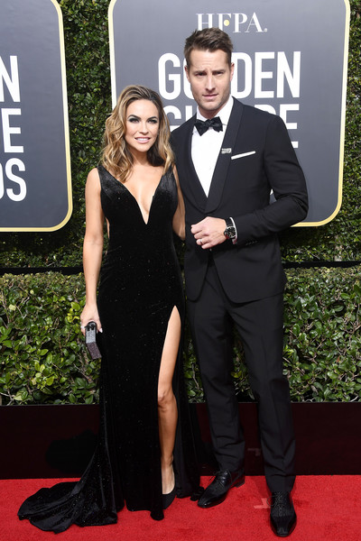 Chrishell Stause Evening Dress [red carpet,formal wear,carpet,tuxedo,dress,suit,premiere,event,flooring,little black dress,arrivals,justin hartley,chrishell stause,r,beverly hills,california,the beverly hilton hotel,golden globe awards,the 75th annual golden globe awards]