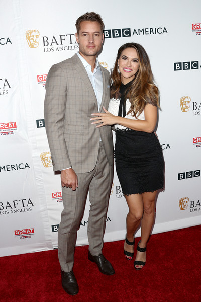 Chrishell Stause Lace Dress [event,suit,carpet,premiere,red carpet,dress,formal wear,flooring,white-collar worker,cocktail dress,arrivals,chrishell stause,justin hartley,tea party,los angeles,beverly hills,california,bafta,bbc america,l]