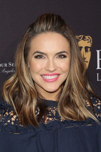 Chrishell Stause Pink Lipstick [hair,face,hairstyle,eyebrow,lip,blond,beauty,brown hair,chin,long hair,arrivals,chrishell stause,los angeles,four seasons hotel,california,beverly hills,bafta,tea party]