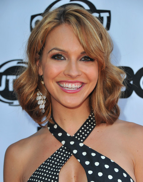 Chrishell Stause Medium Wavy Cut [hair,face,hairstyle,blond,eyebrow,beauty,chin,polka dot,brown hair,lip,red carpet arrivals,chrishell stause,the green,los angeles,california,directors guild of america,los angeles gay lesbian film festival,premiere]