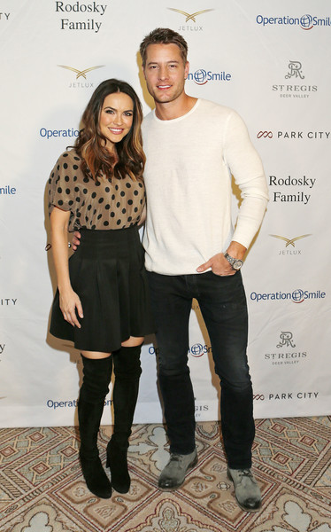 Chrishell Stause Print Blouse [clothing,fashion,footwear,joint,riding boot,fashion design,event,tights,jeans,t-shirt,justin hartley,rodosky family,chrishell stause,r,utah,park city,operation smile,celebrity ski smile challenge]